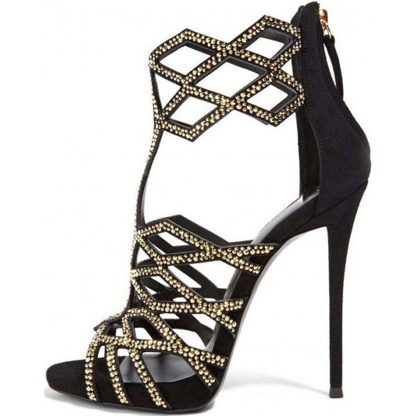 ... black and gold studs evening shoes open toe stiletto heel cage sandals IRJFNSE