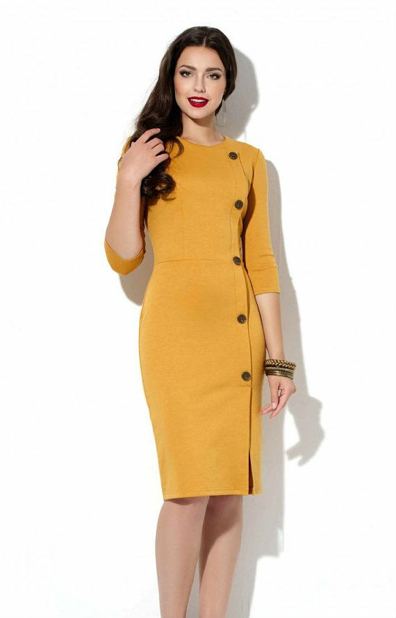autumn clothes for work mustard office dress autumn spring jersey dress business woman clothes  casual clothing for women DCIQNZZ