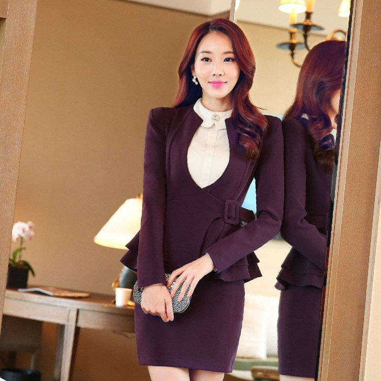 autumn clothes for work new professional women skirt two pice set of autumn clothing suits  fashionable long - sleeved YNKMXDU