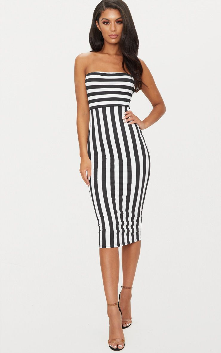 Bandeau Dress black contrast stripe bandeau midi dress QWCBDOE