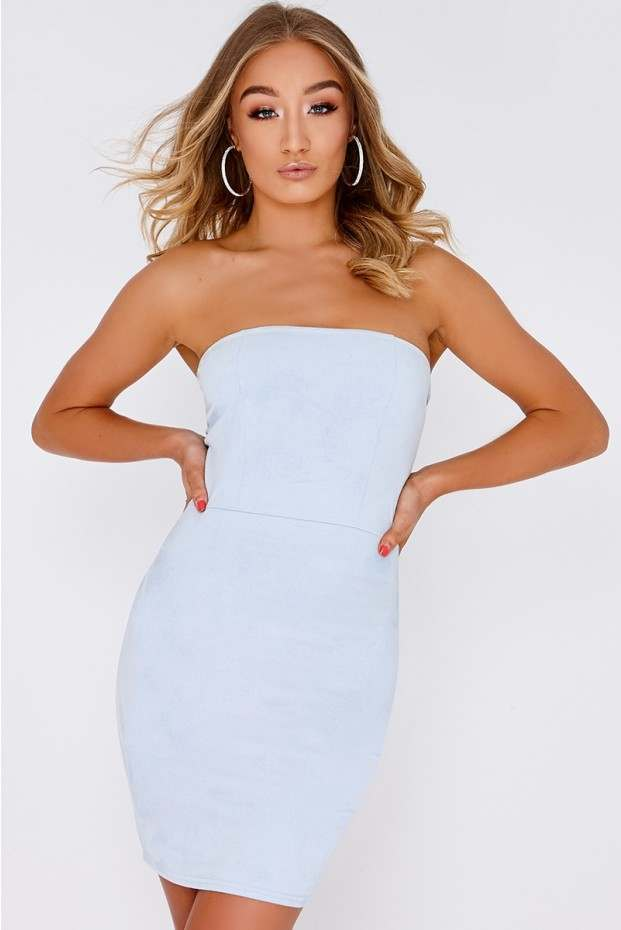 Bandeau Dress gemini blue faux suede bandeau dress BTYKNQX