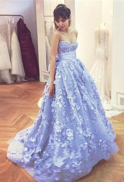 Beautiful Ball Gowns beautiful sweetheart long ball gown blue applique princess prom dresses  quinceanera dresses z0227 BAEDTGU