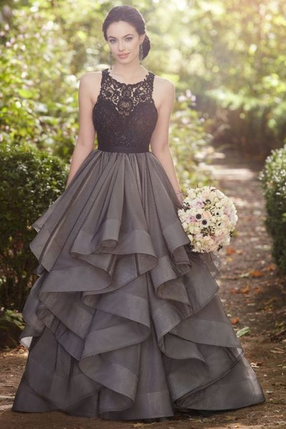 Beautiful Ball Gowns sexy long prom dresses,beautiful grey lace organza prom dress,ball gown  formal dress ARUAXWP