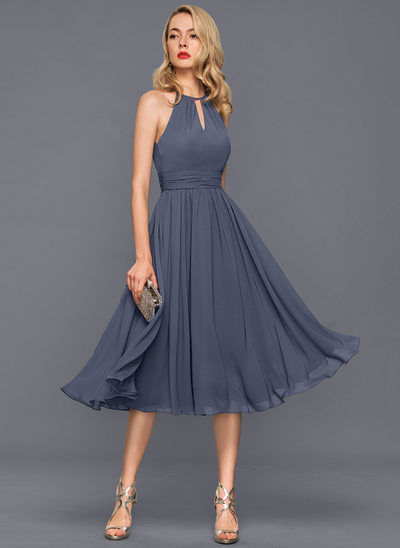 Beautiful cocktail dresses a-line/princess scoop neck knee-length chiffon cocktail dress with ruffle EVWDETC