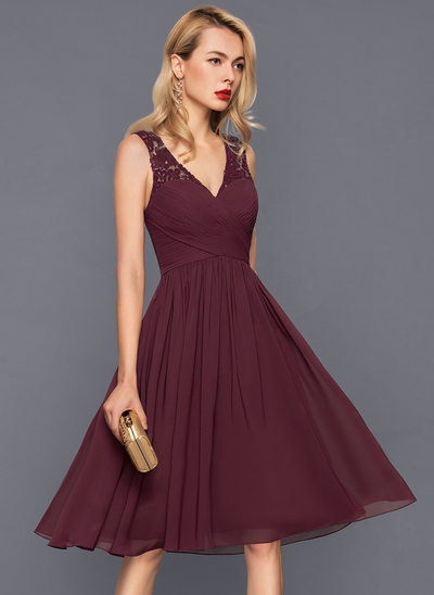 Beautiful cocktail dresses a-line/princess v-neck knee-length chiffon cocktail dress with ruffle SNGKTXG