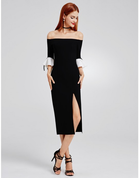 Beautiful cocktail dresses sexy off shoulder midi lbd NMFJPQX