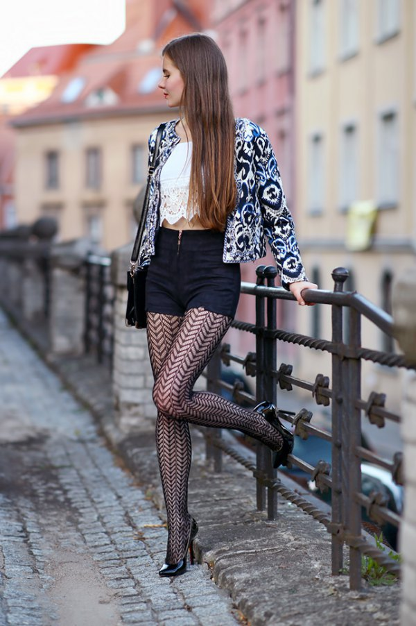 best patterned tights outfit ideas for women YYVJMXW