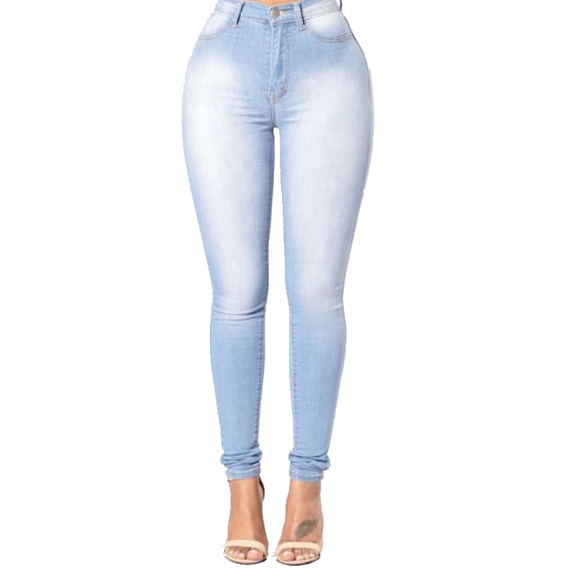 BLUE LADIES JEANS hot stylish pure sky blue women jeans ladies slim high waist skinny stretch  pencil denim NQHBOGJ