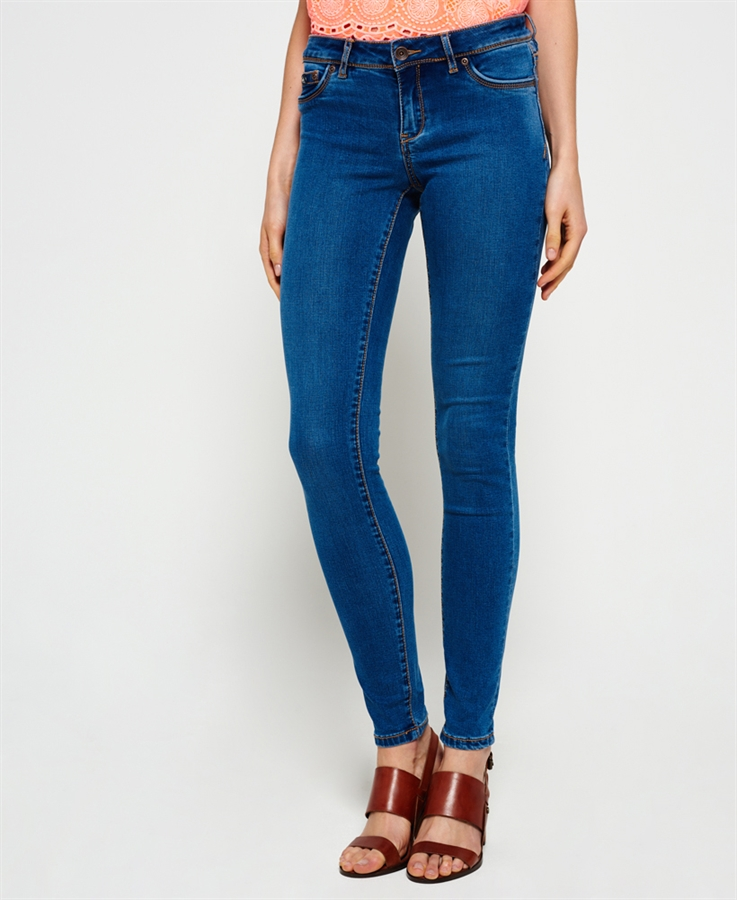 BLUE LADIES JEANS picture of superdry ladies jeans alexia jegging royal blue FLBDCWS