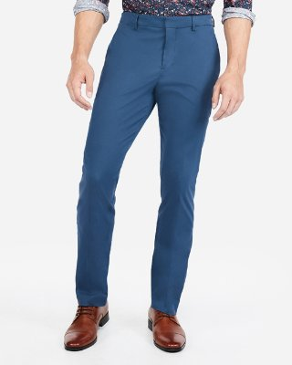 Blue Mens Trousers express view · slim performance stretch easy care cotton dress pant PULIOBX