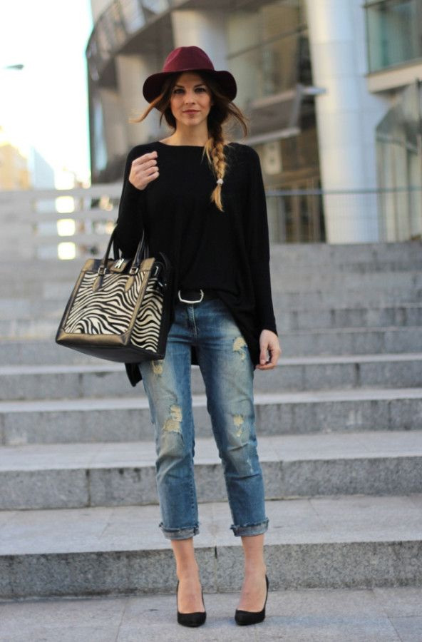 Boyfriend Jeans Outfit Ideas burgundy fedora is worn with a slouchy black pullover half-tucked in ripped boyfriend  jeans. complete NDUZNLY