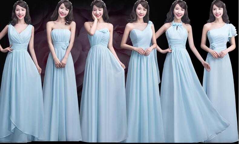 Bridesmaid Dresses Long mismatched chiffon bridesmaid dresses, long bridesmaid dresses, blue bridesmaid  dresses, chiffon bridesmaid dresses, REZUMLL