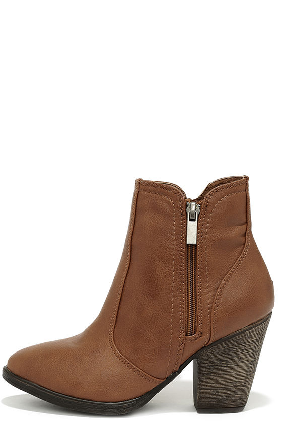 BROWN BOOTS straight up now chestnut brown high heel ankle boots JFBDUYX
