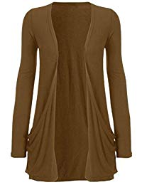 BROWN CARDIGANS ladies long sleeve boyfriend cardigan womens top 8-22 QYUMAIY
