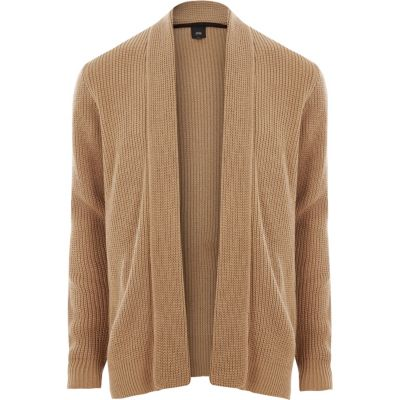 BROWN CARDIGANS light brown open front rib knit cardigan - cardigans - sweaters . VCBHDQS