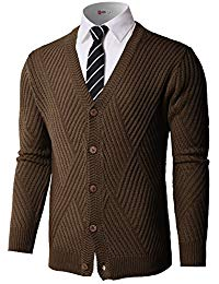 BROWN CARDIGANS mens casual stand collar cable knitted button down cardigan sweater TFHTNLU
