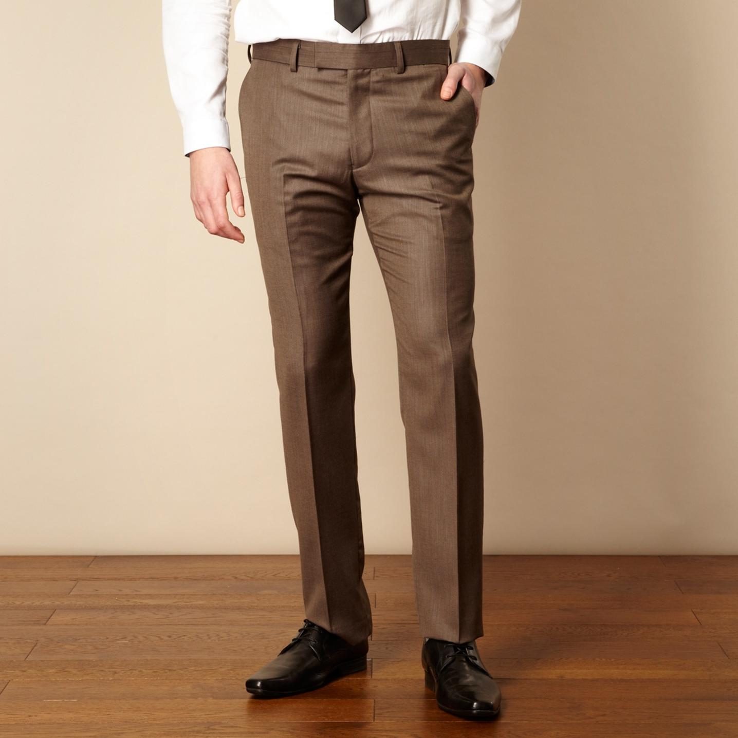 Brown suit trousers red herring red line brown textured suit trousers MZNIRBC