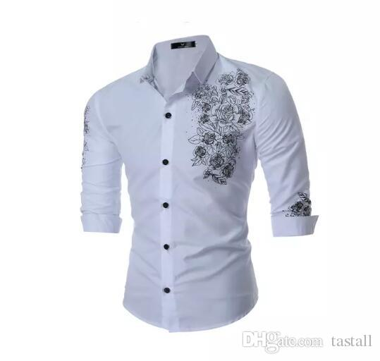 Business Shirts online cheap england style mens dress shirts fashion floral embroidery business  shirts cotton long sleeved DPWVNGR
