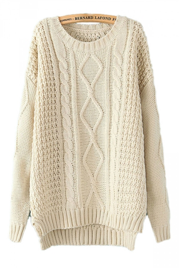 Cable Knit Sweater beige white diamond cable knit sweater JAIFJPT