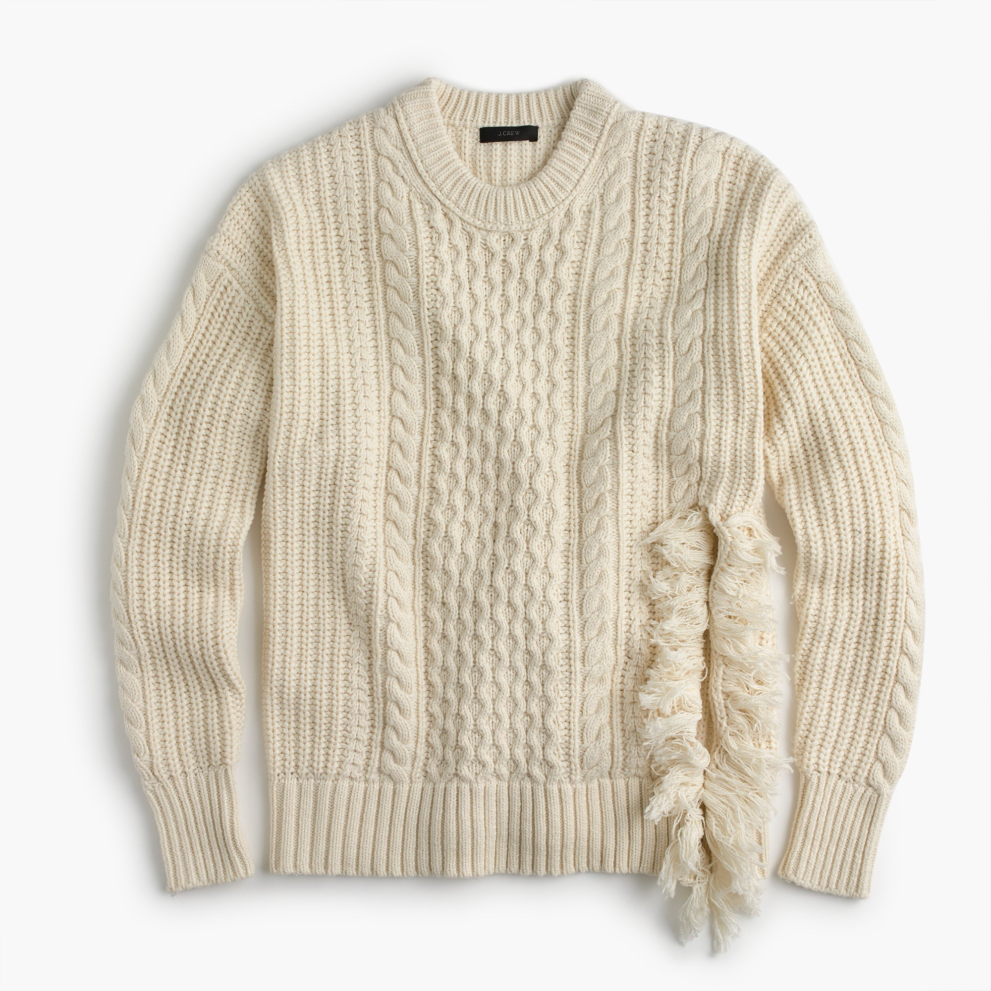 Cable Knit Sweater cableknit sweater with fringe : women pullovers IYRCZRQ