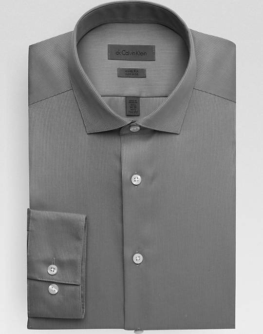 Calvin Klein Shirts calvin klein gray slim fit non-iron dress shirt - mens slim fit, shirts HIQQAFV