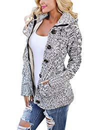cardigans for women women hooded knit cardigans button cable sweater coat MOPISUH