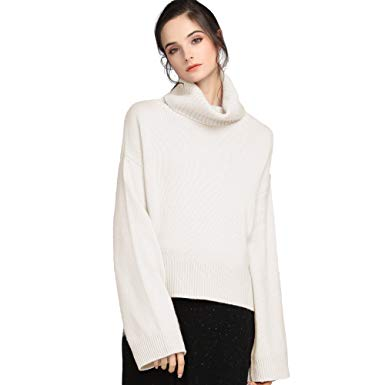 Cashmere Sweater for Women chesslyre ivory cashmere sweater turtleneck women,womans cashmere sweater  wide sleeves cashmere winter sweater WQGMWMK