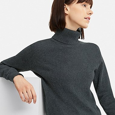 Cashmere Sweater for Women women cashmere turtleneck sweater, dark gray, medium FNJMBVG