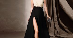 Chic Evening Dresses vintage black chic evening drseses sexy beaded sequins evening gowns high  side split vestido longo EAXXPSH