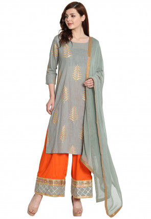 Cotton Suits golden printed cotton slub pakistani suit in grey KNCFEYC