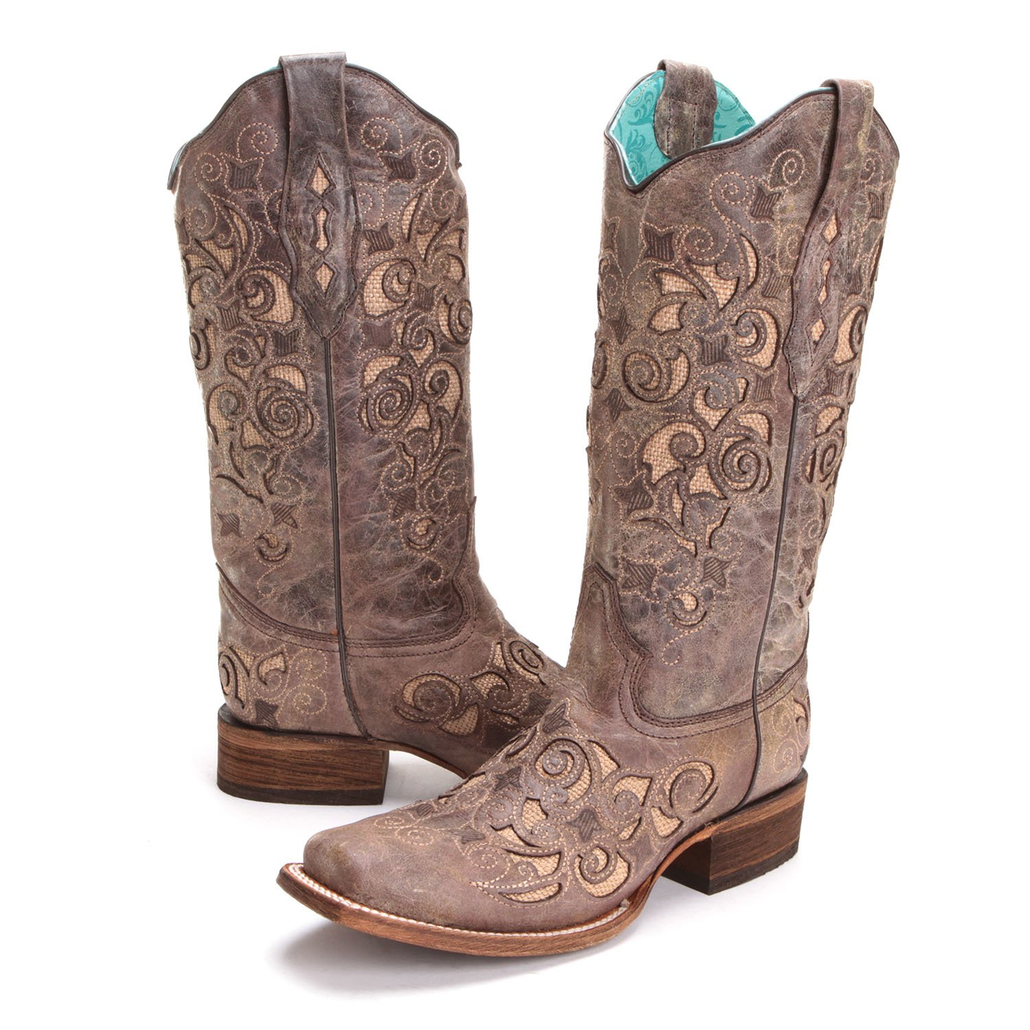 cowboy boots for women corral womens jute inlay square toe cowboy boots brown MZBOVZQ