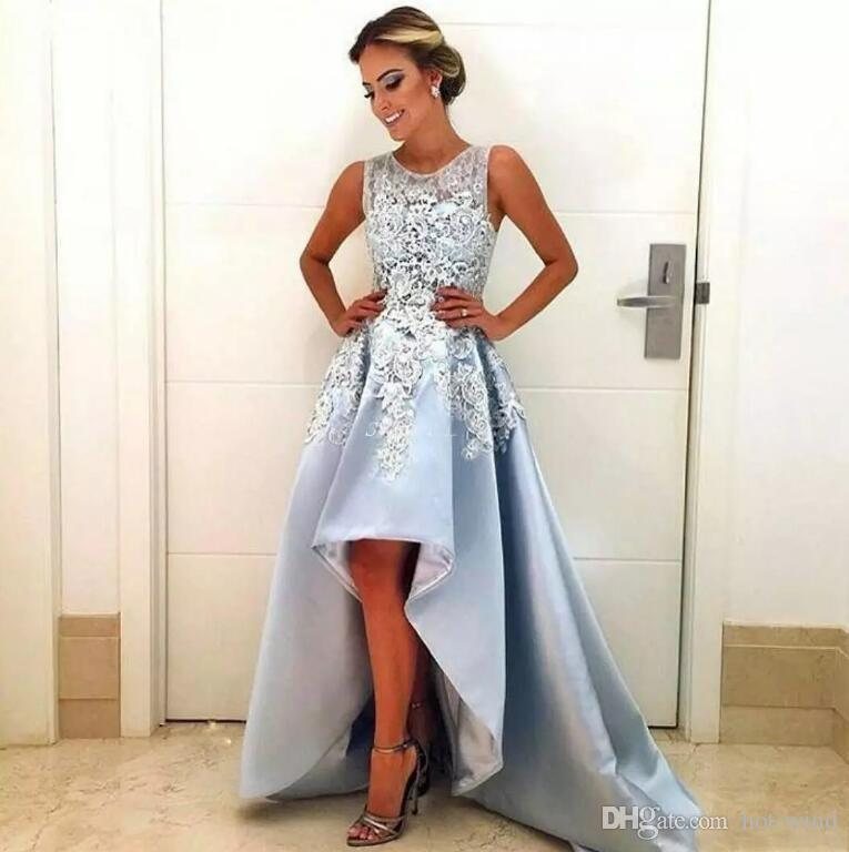 ELEGANT DRESSES light sky blue high low elegant evening dresses 2018 new sleeveless lace a  line satin FKMXBCY