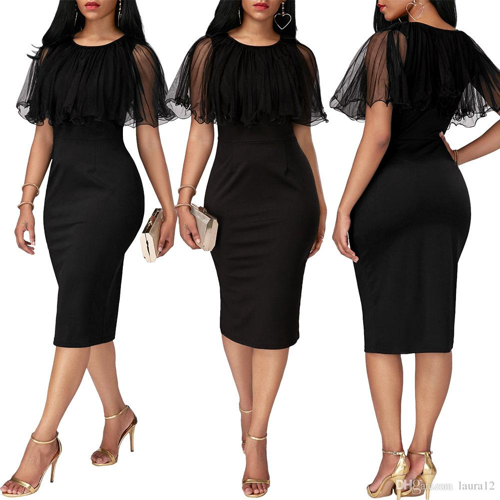 Elegant Pencil Dresses elegant black women pencil dresses with tulle shawl 2018 simple crew neck  cap sleeves mid LTISAJO