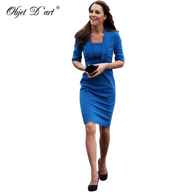 Elegant Pencil Dresses new fashion elegant women half sleeve blue pencil dress classy draped  hidden back zipper empire RQHEVNG