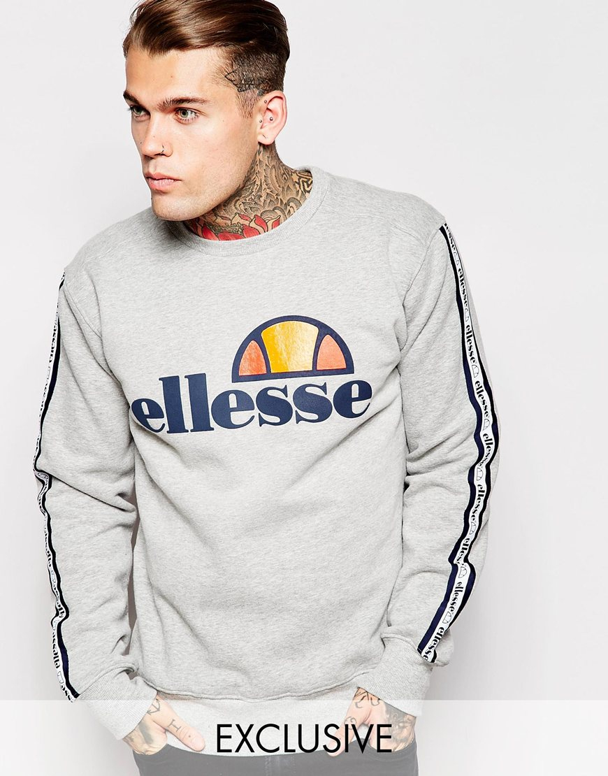 Ellesse Sweaters lyst - ellesse sweatshirt with taping in gray for men RJOLXBI