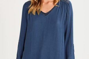 ESPRIT WOMEN'S CLOTHING edc by esprit double layer - blouse - petrol blue womens clothing fp41215 XOYYICL
