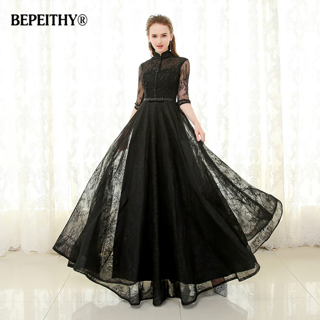Evening Dress with Collar Collar bepeithy high collar long evening dress formal gowns half sleeves vestido  de festa 2017 full WCANCJO