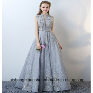 Evening Dress with Collar Collar elegant sleeveless prom gown with collar applique halter evening dress BHSVAUP