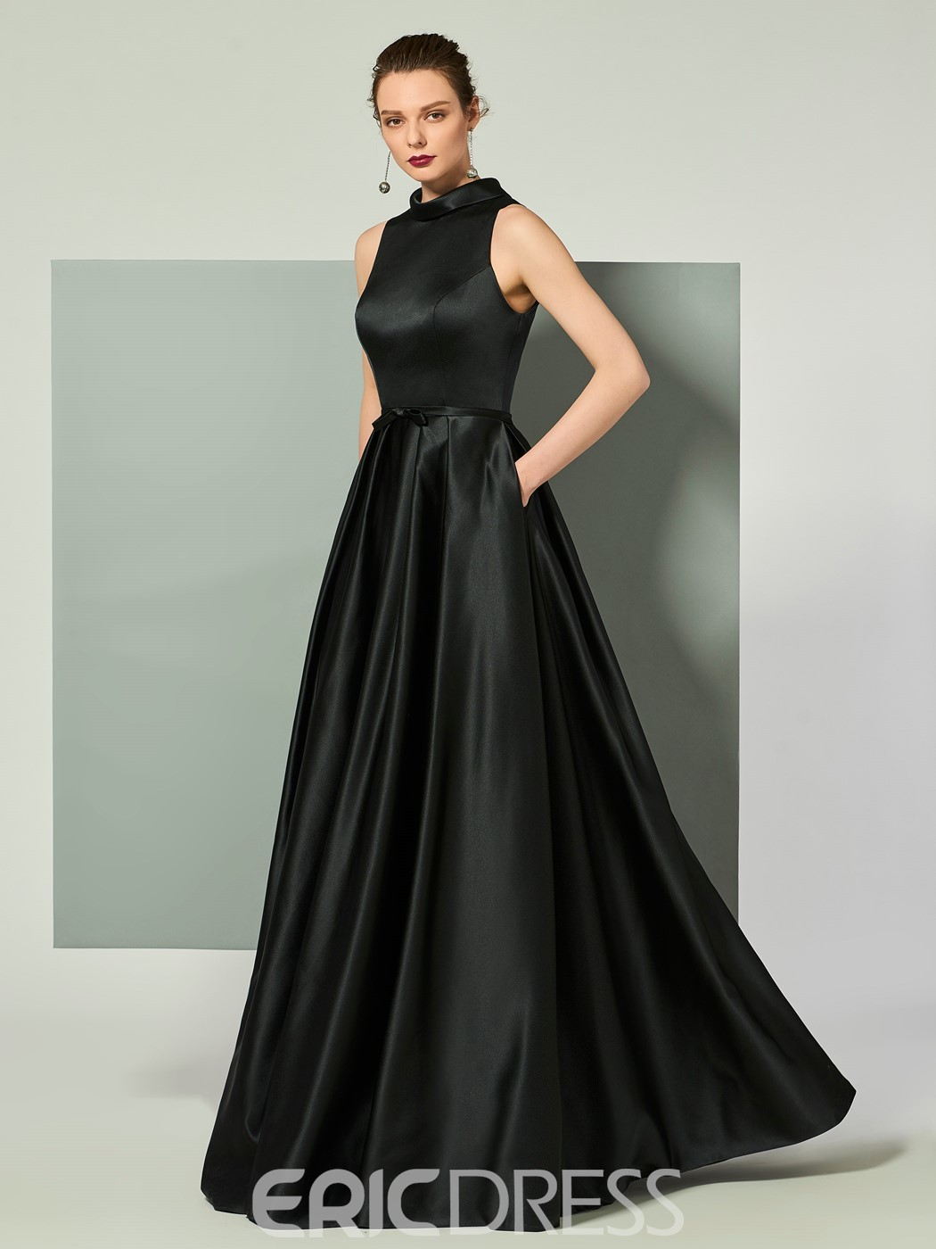 Evening Dress with Collar Collar ericdress vintage high collar satin floor length long evening dress ... WETMQCF