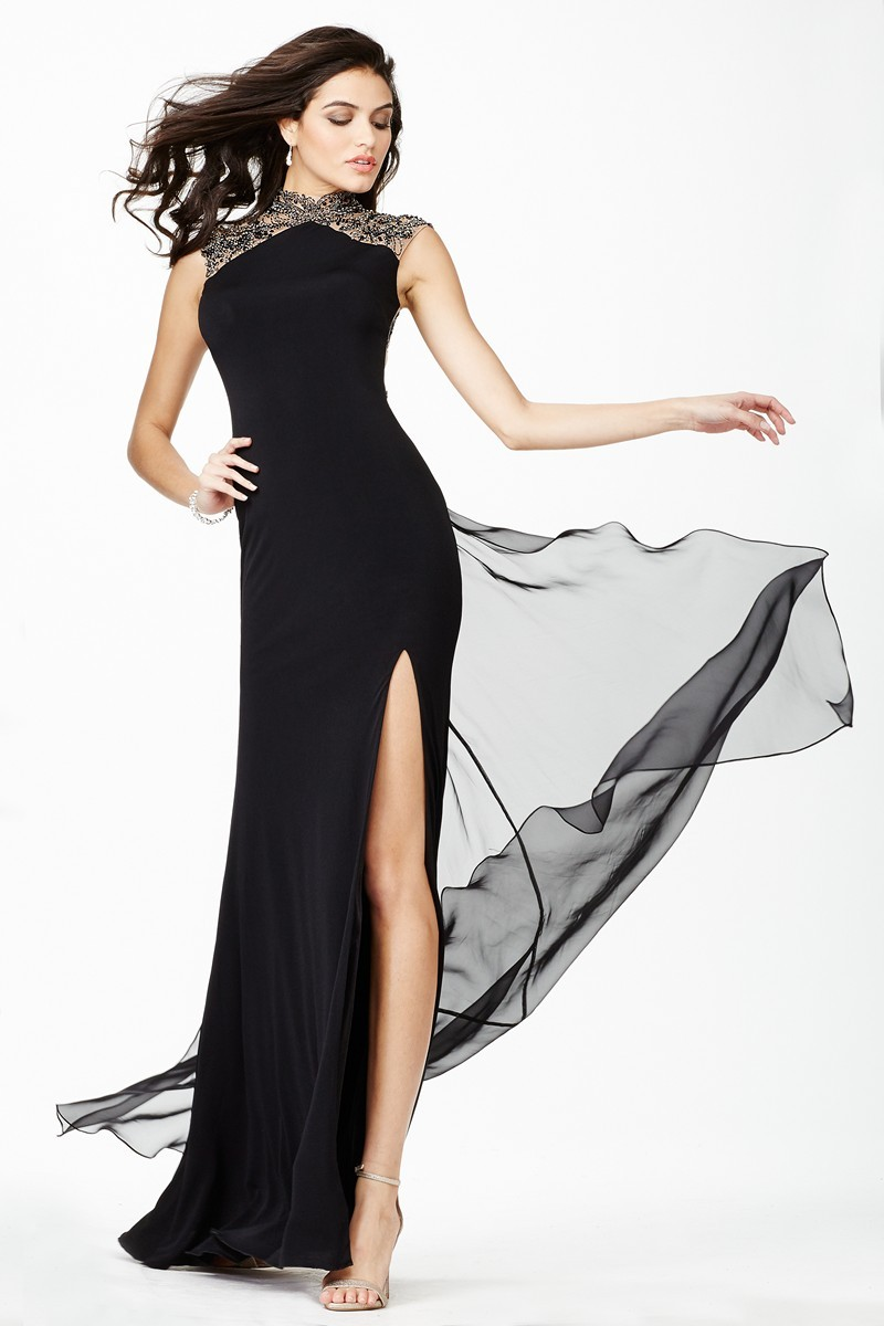 Evening Dress with Collar Collar jovani jvn27497 evening dress jersey mandarin collar thigh-high slit skirt PFSDVOZ
