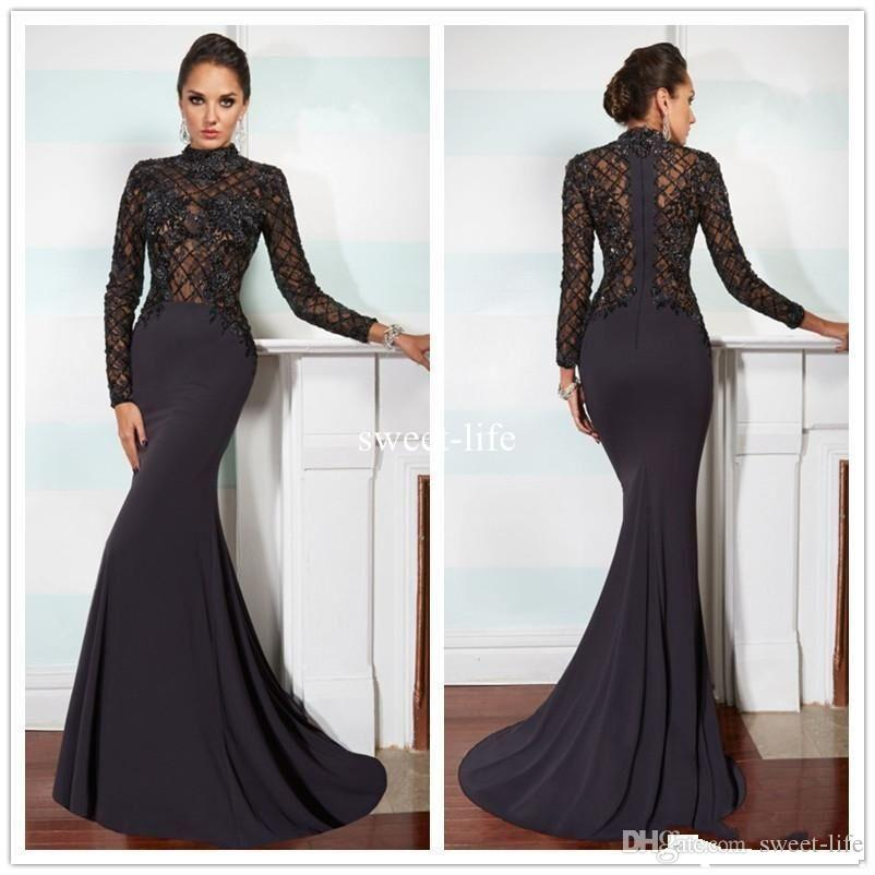 Evening Dress with Collar Collar sexy hot black 2017 mermaid evening dresses high collar long sleeve  illusion lace applique chiffon UHFCPQV