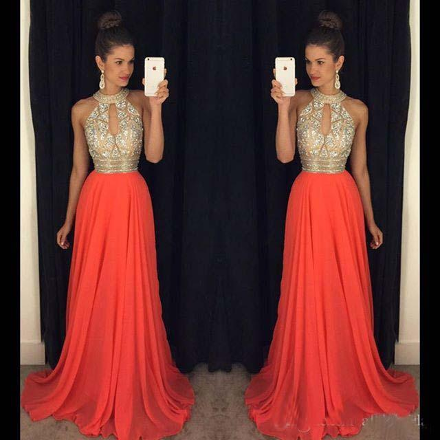 Evening dresses for the wedding prom dresses 2016 high neck evening dresses cheap bridesmaid dresses orange  long dresses DJXNQAS