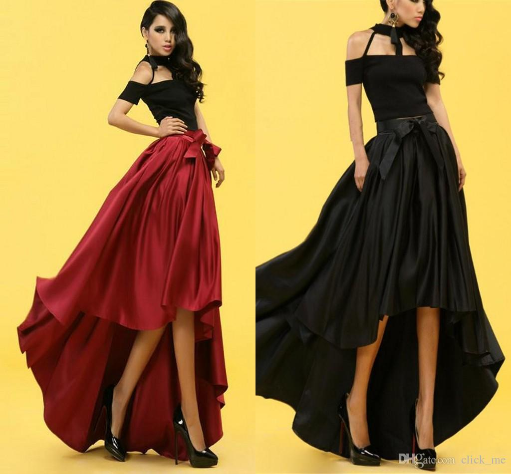 Evening Skirts online cheap fashion high waist skirts party tutu long skirt dovetail maxi  pleated ZHTBUCM
