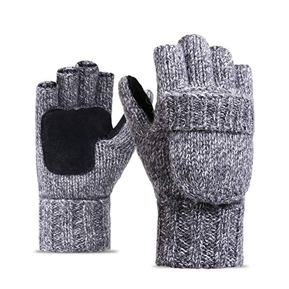 Fashionable gloves womens fashionable gloves -winter warm convertible fingerless gloves with  mittens cover (light gray) DSGEFGJ