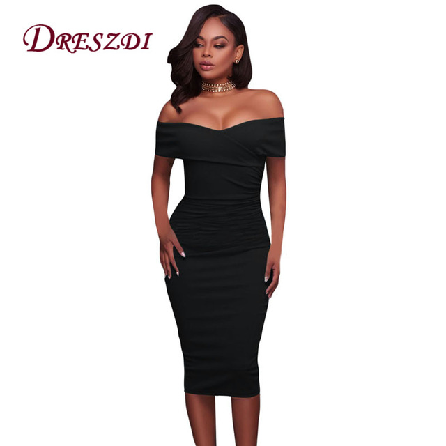 Fitted Dress dreszdi 2017 sexy off shoulder womens midi dress fitted bodycon club party  dress DHTDPJU