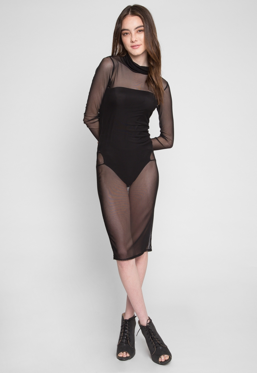 Fitted Dress ... seduction mesh fitted dress with bodysuit lining - wet seal ... XBYCNEO