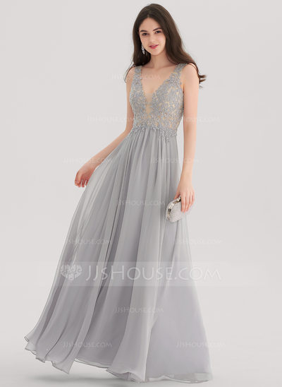 floor length dress a-line/princess v-neck floor-length chiffon prom dresses with beading OCVWNKW