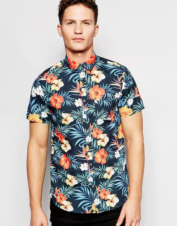 Floral Print Shirts ... jack and jones jack jones short sleeve shirt with all over floral print  ... LHJKJXH