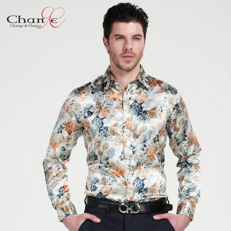 Floral Print Shirts quality mens floral print shirt mens long sleeve silk shirts 2015 plus size  men floral SWGUTKW