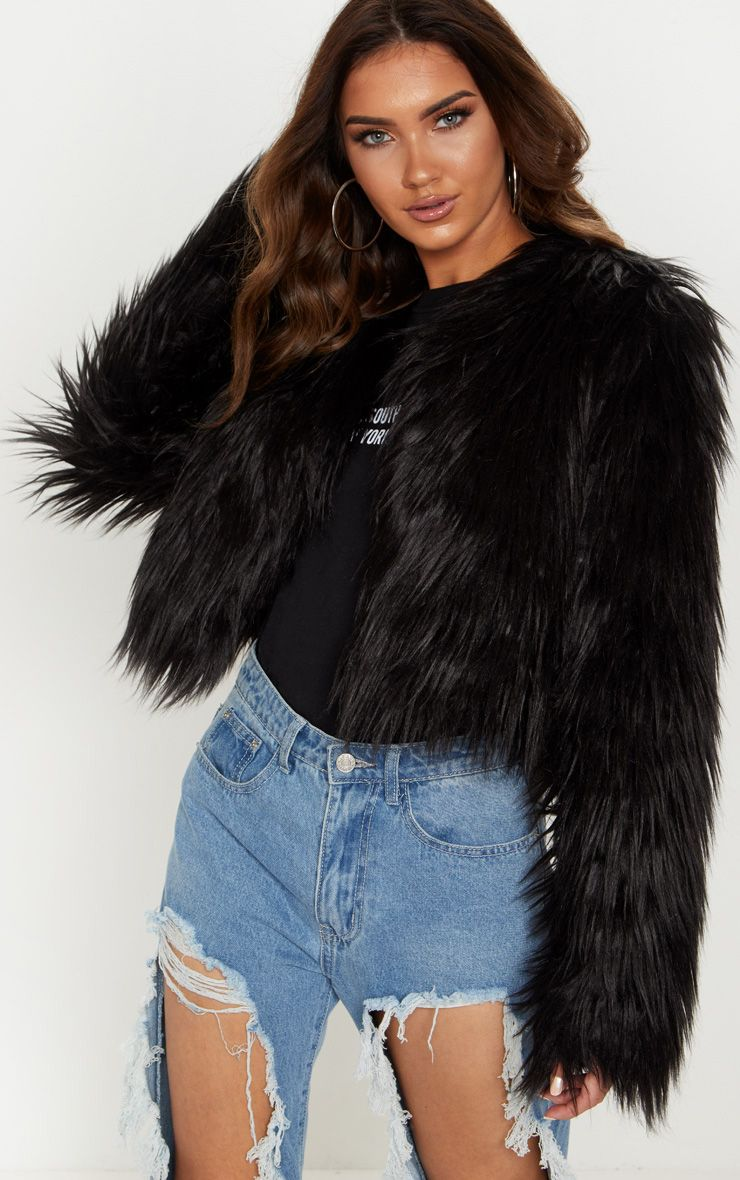 Fur Jackets liddie black faux fur shaggy cropped jacket UZSGKPU